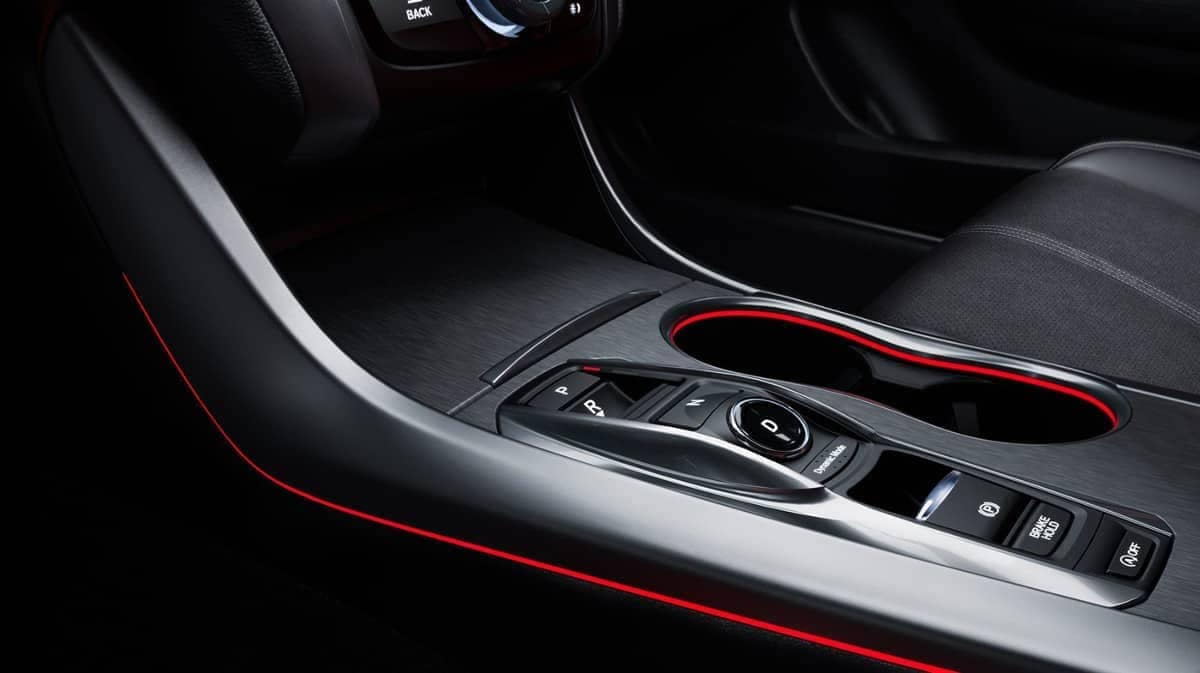 Red Accent Lighting along center console in 2019 Acura TLX