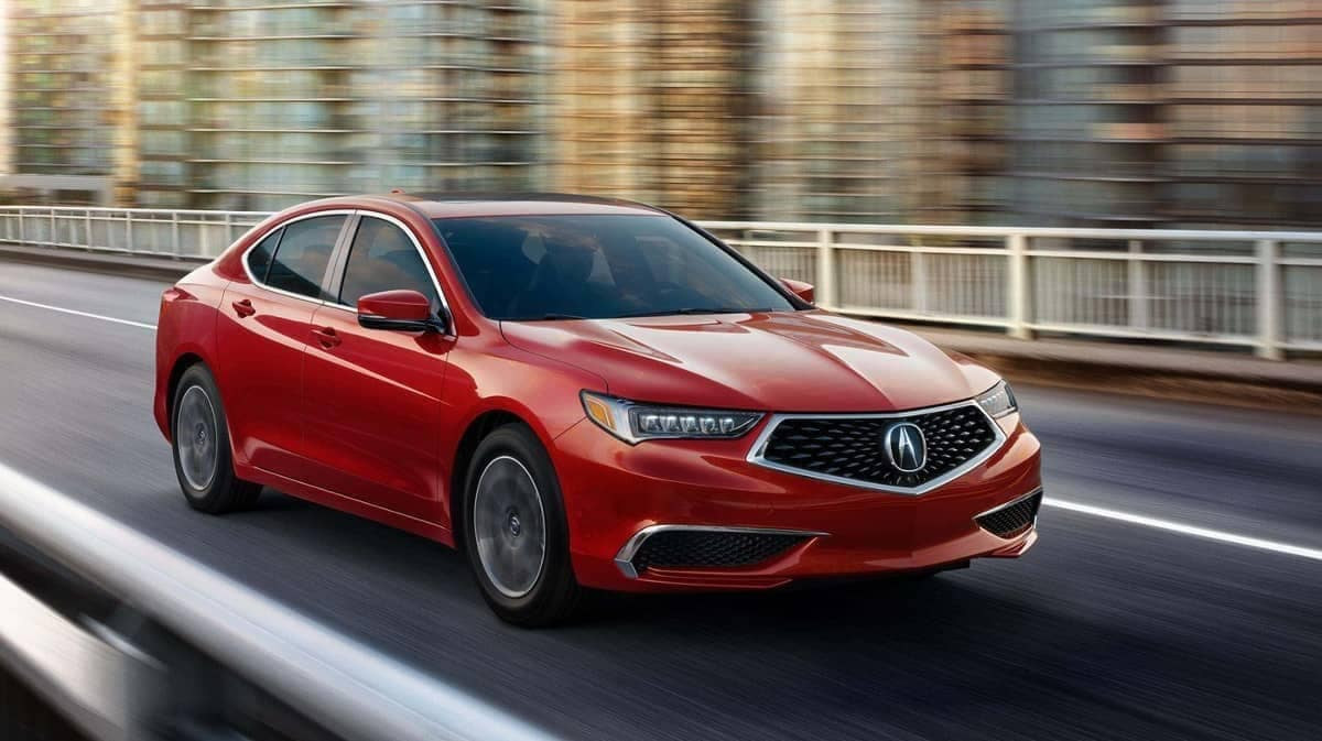Milano Red 2019 Acura TLX on road