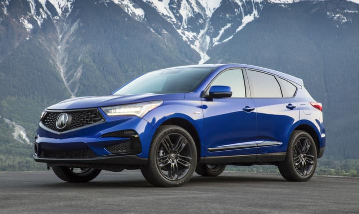 2019 Acura RDX A-Spec parked in front of mountains