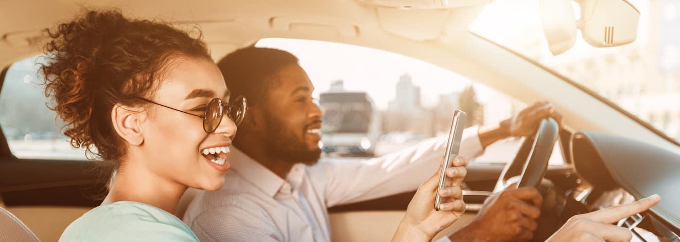 couple utilizing phone app