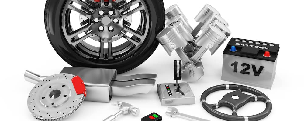 Car parts and accessories against a white background