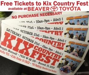 free tickets to kix country fest from beaver toyota