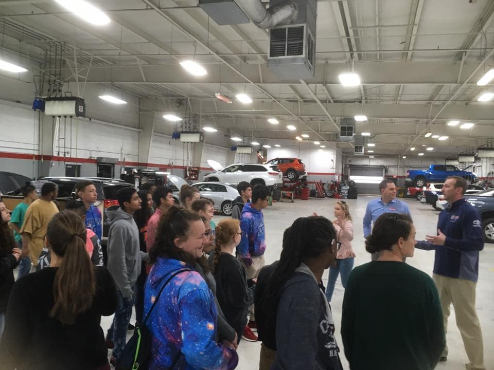 Students from local deaf & blind school learning at Beaver Toyota in the service department