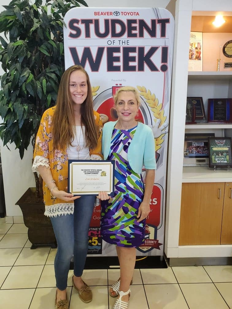 Student winning award at Beaver Toyota St. Augustine