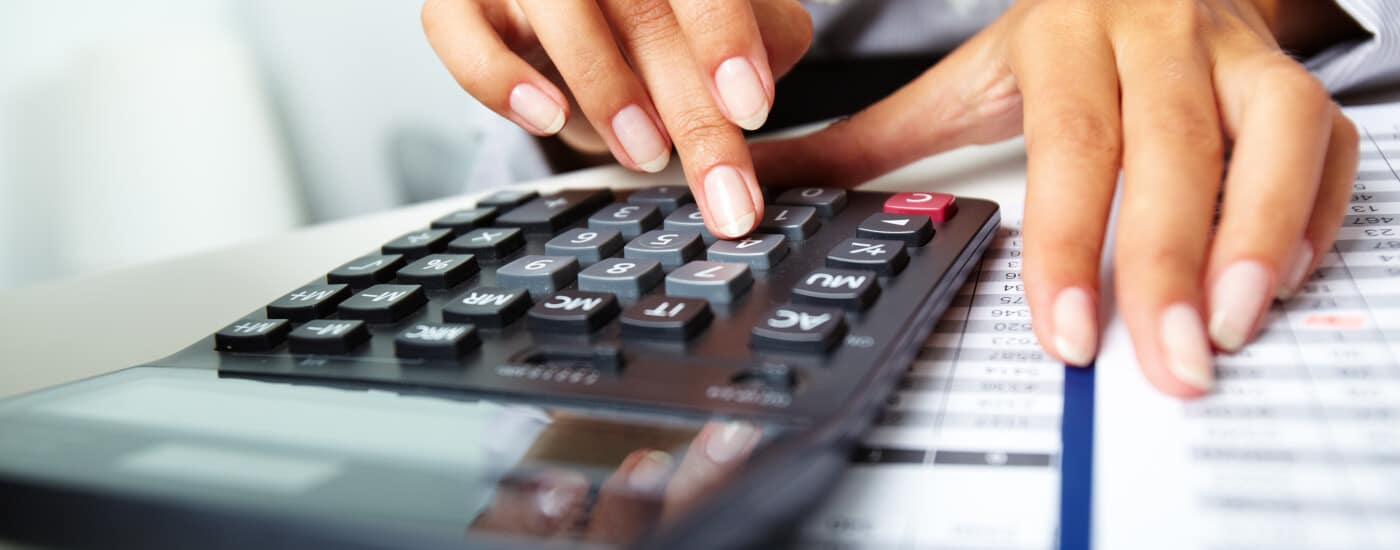 finance calculator on a desk
