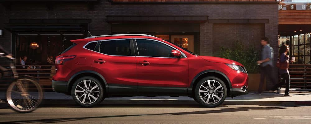 A red 2018 Nissan Rogue Sport