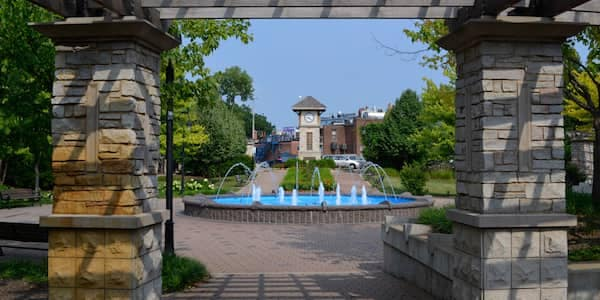 Naperville Clock Tower and Fountain from https://www.positivelynaperville.com