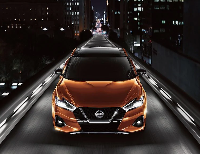 2019 Nissan Maxima on the road at night