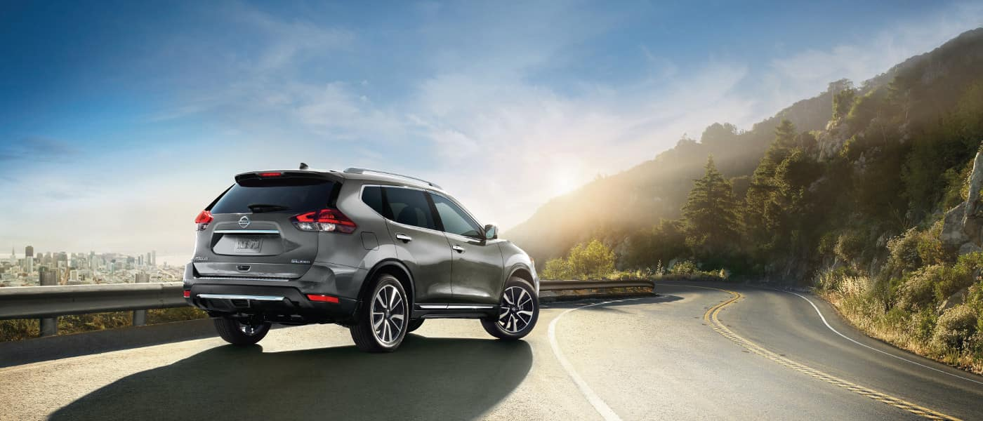 Silver 2019 Nissan Rogue on road