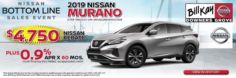 Buy a 2019 Nissan Murano w/ $4,750 Nissan Rebat + 0.9% APR x 60 mos.