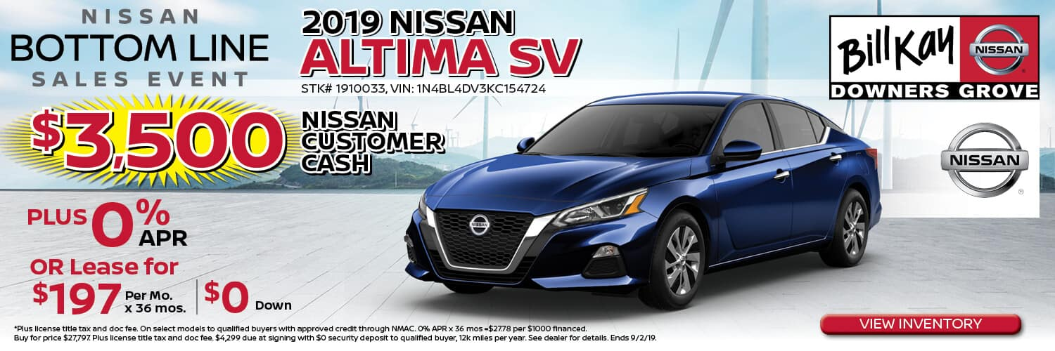 Buy a 2019 Nissan Altima w/ $3500 Nissan Customer Cash + 0% APR or lease for $197/mo. x 36 mos.