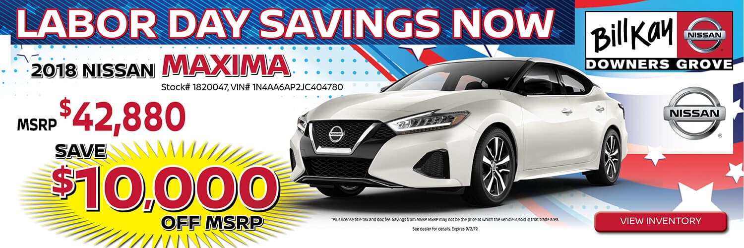 Save $10,000 off MSRP on a 2018 Nissan Maxima