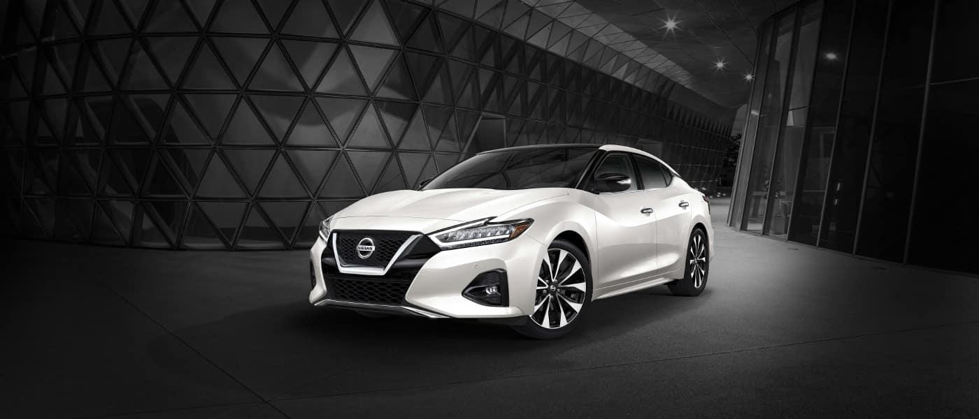 White 2019 Nissan Maxima on road