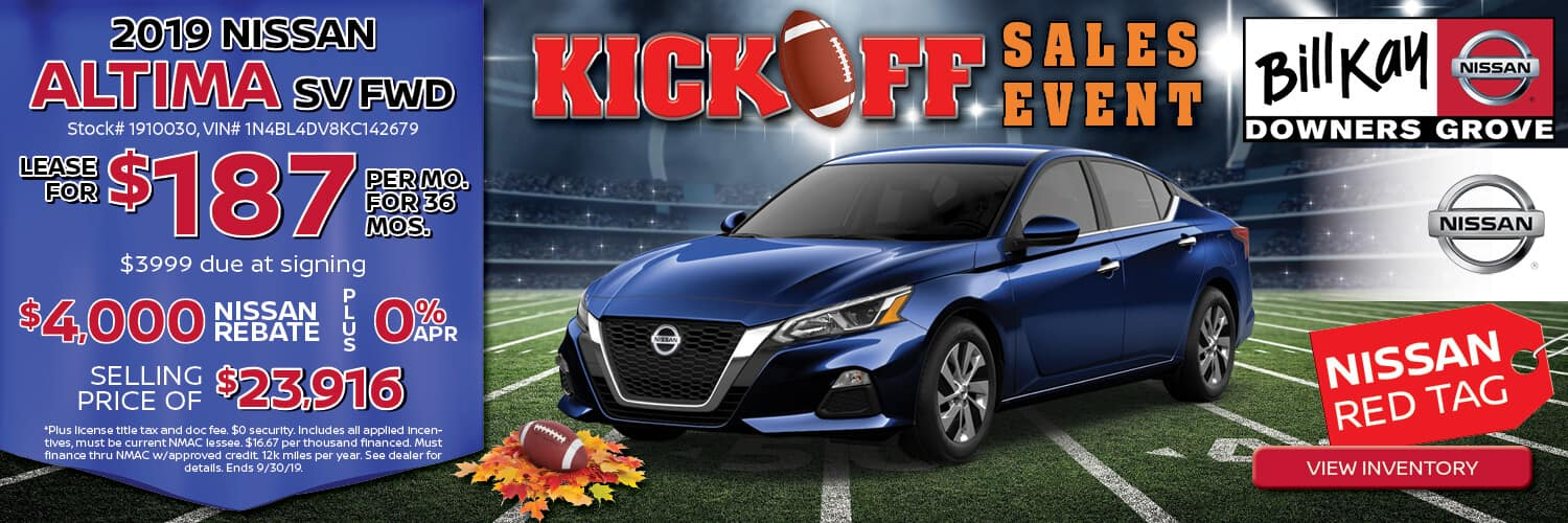 Lease a 2019 Nissan Altima SV for $187/mo. for 36 mos. or buy with a selling price of $23,916