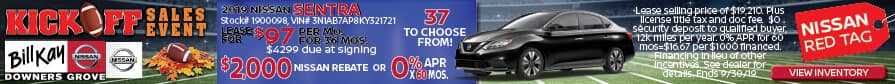 Lease a 2019 Nissan Sentra for $97/mo. for 36 mos. or buy w/ a $2000 Nissan Rebate + 0% APR x 60 mos.