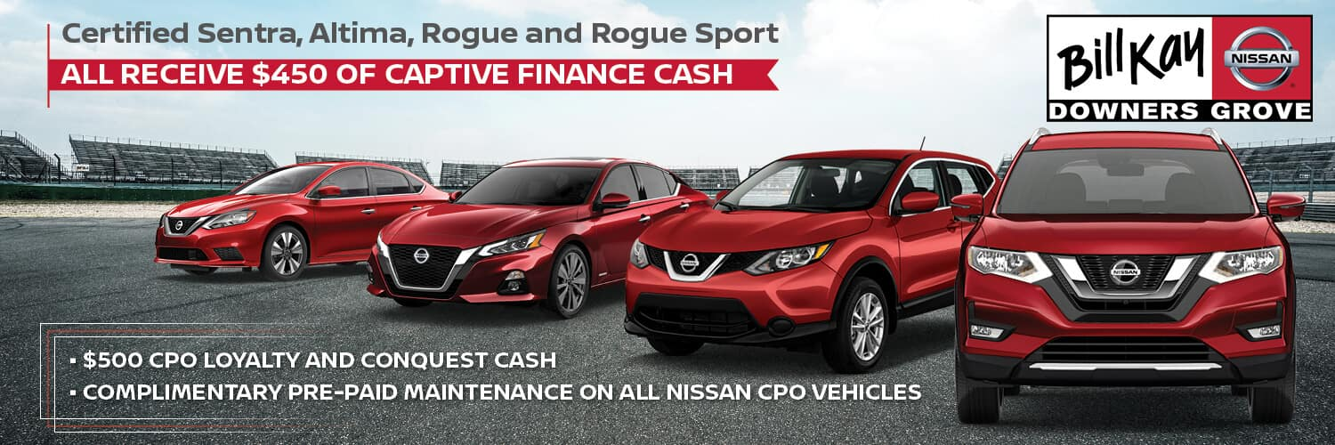 Certifed Sentras, Altima, Rogue, and Rogue Sport receive $450 Finance Cash