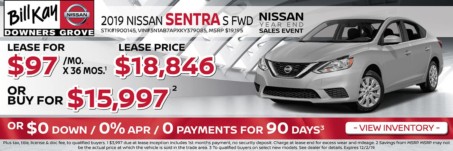 Lease a 2019 Nissan Sentra S for $97/mo. or buy for $15,997