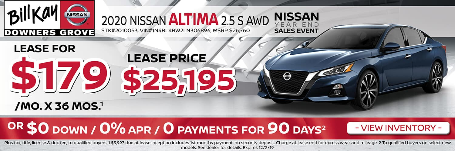 Lease a 2020 Nissan Altima S for $179/mo for 36 mos.