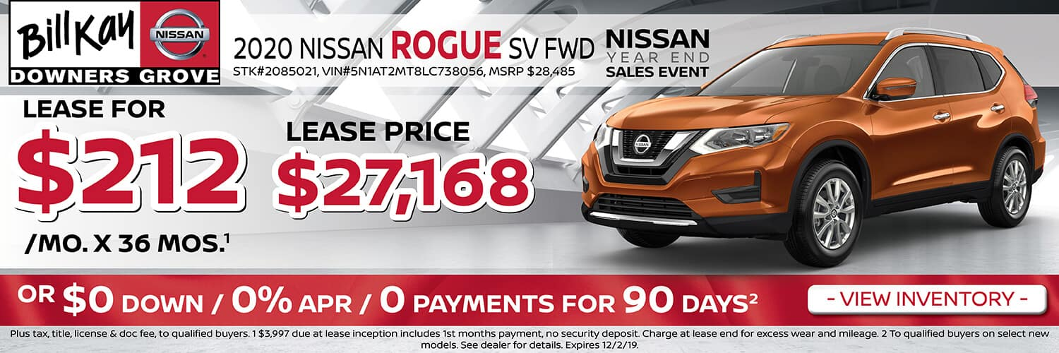Lease a 2020 Nissan Rogue SV for $212/mo for 36 mos.