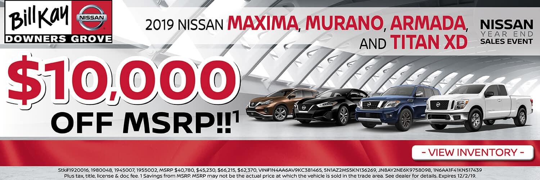Get Up to $10,000 off MSRP on 2019 Maximas, Muranos, Aramadas, and Titan XD