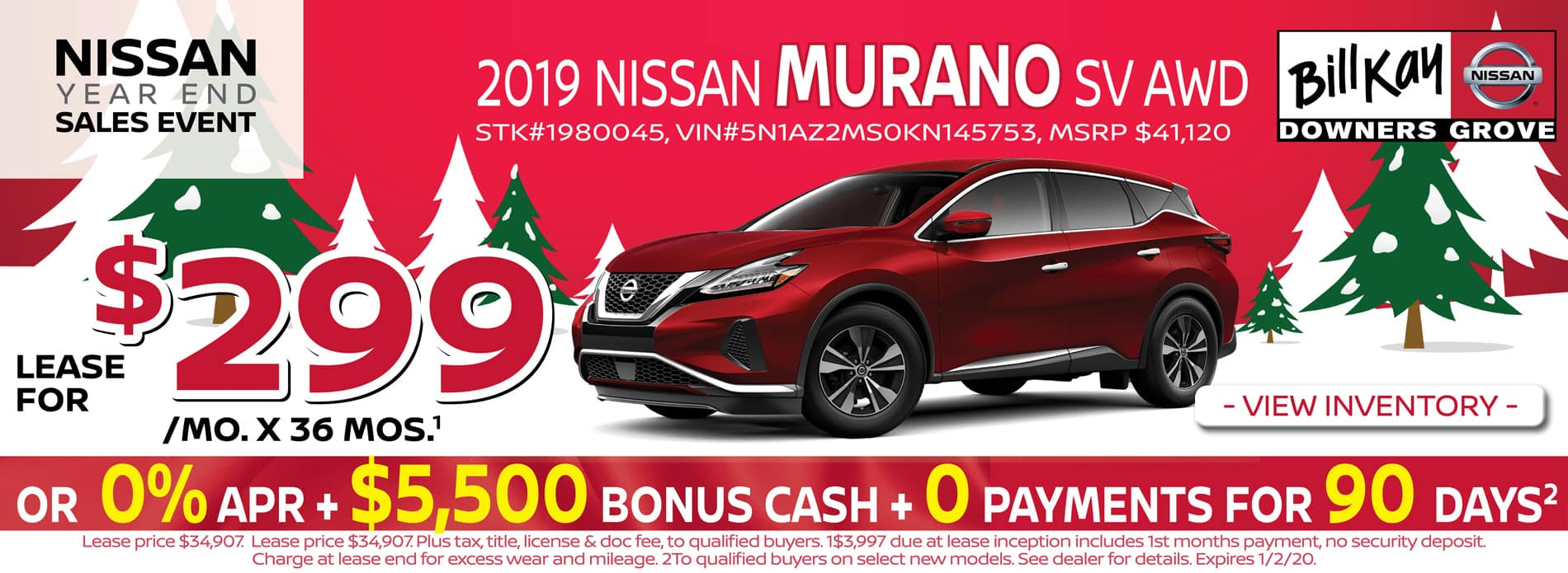 Lease a 2019 Nissan Murano SV for $299/mo for 36 mos.