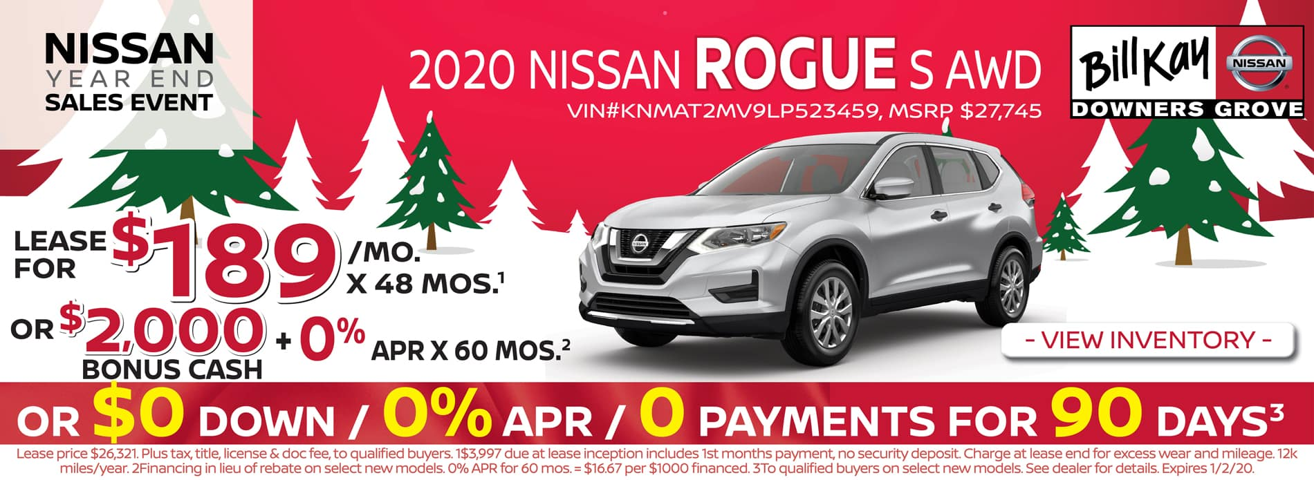 Lease a 2020 Nissan Rogue S for $189/mo for 48 mos.
