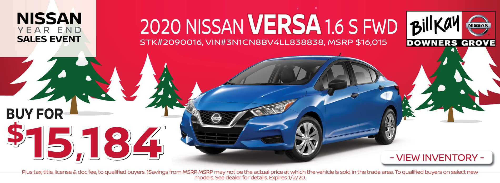 Buy a 2020 Nissan Versa S for $15,184
