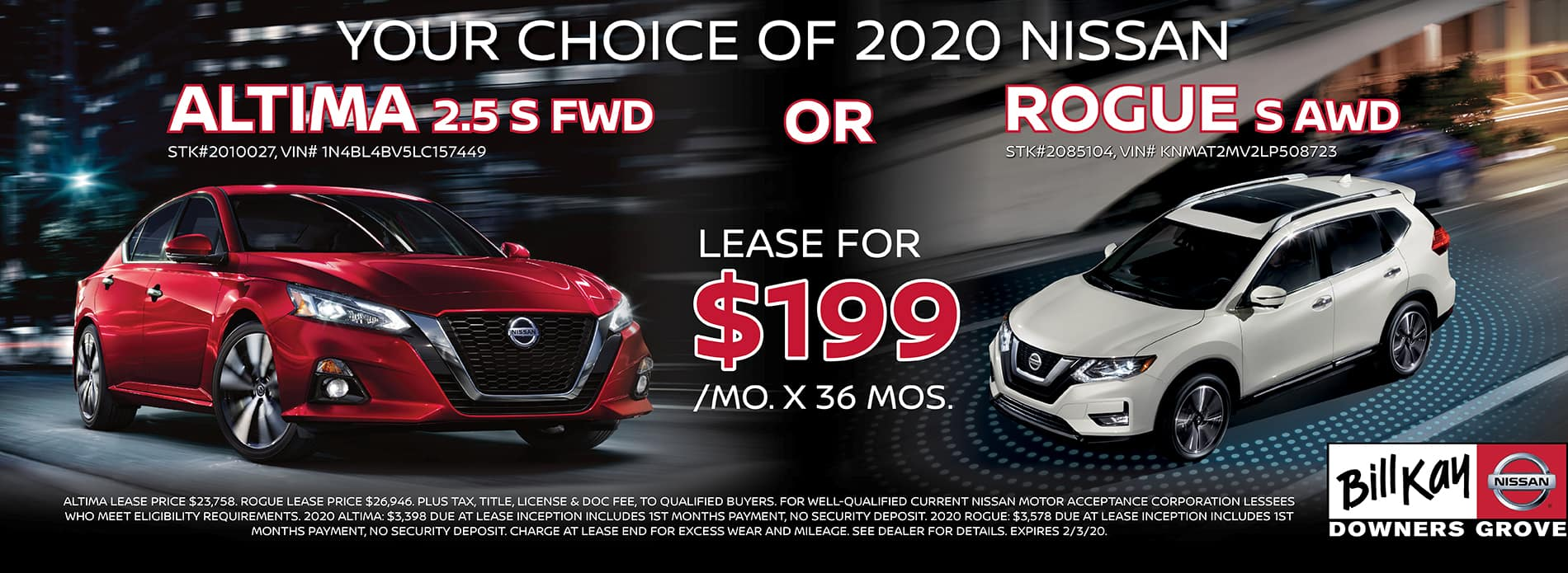 Altima and Rogue Lease Deal