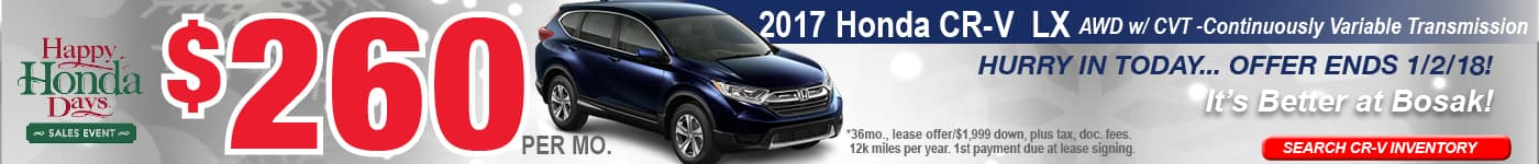 CR-V December Offer Bosak Honda