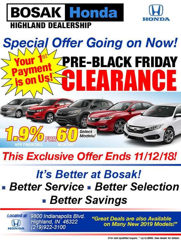 Pre-Black Friday Sale at Bosak Honda Highland