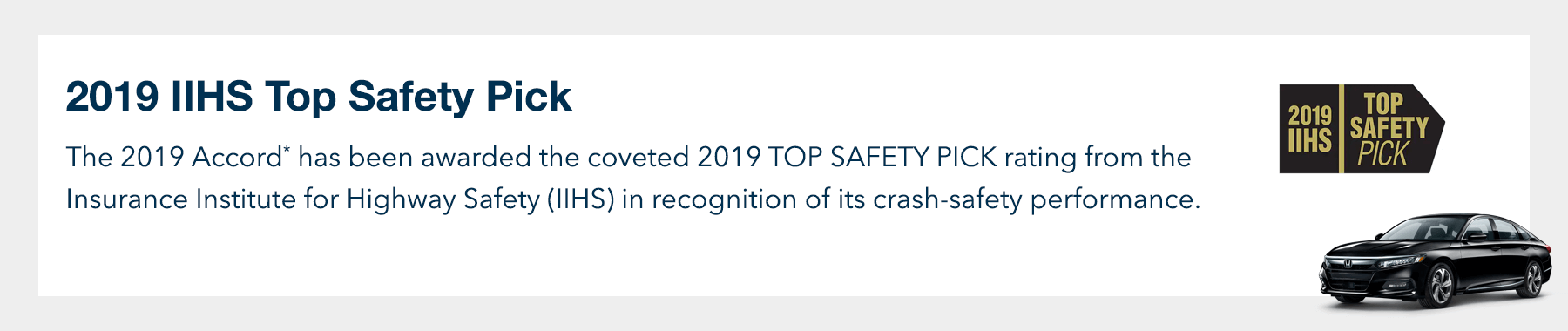 2019 Honda Accord IIHS Top Safety Pick Slider