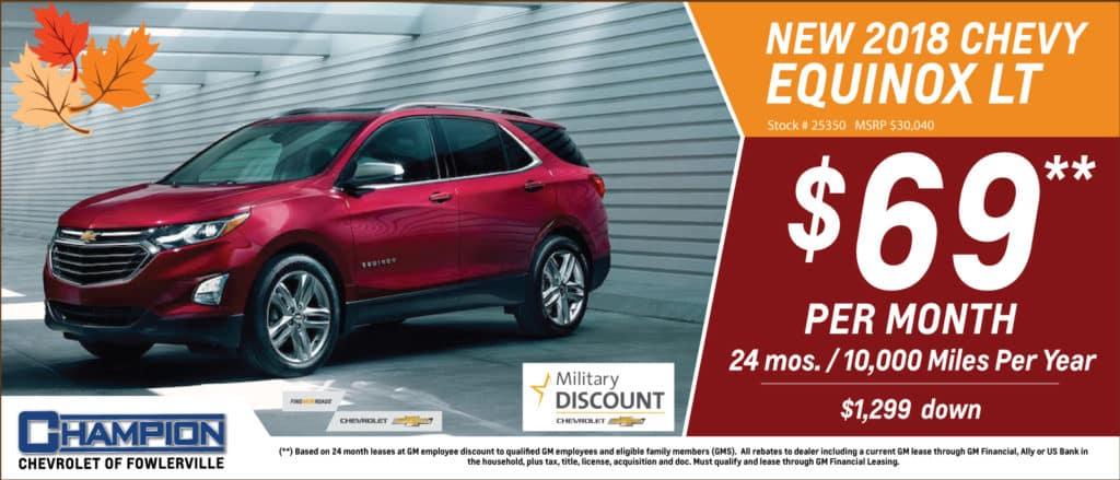 How Much Is Equinox Per Month >> Monthly Specials L Champion Chevrolet L Fowlerville