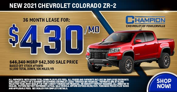 2021 Chevy Colorado ZR-2 September Lease Offer