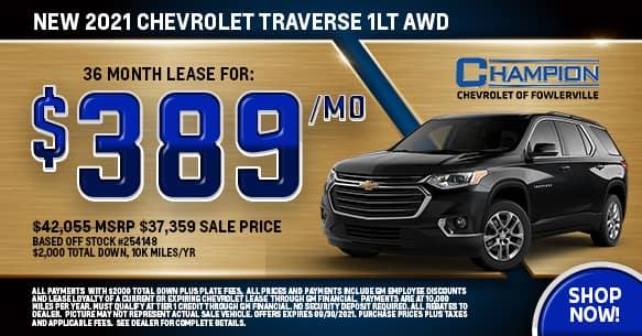 2021 Chevy Traverse 1LT September Lease Offer