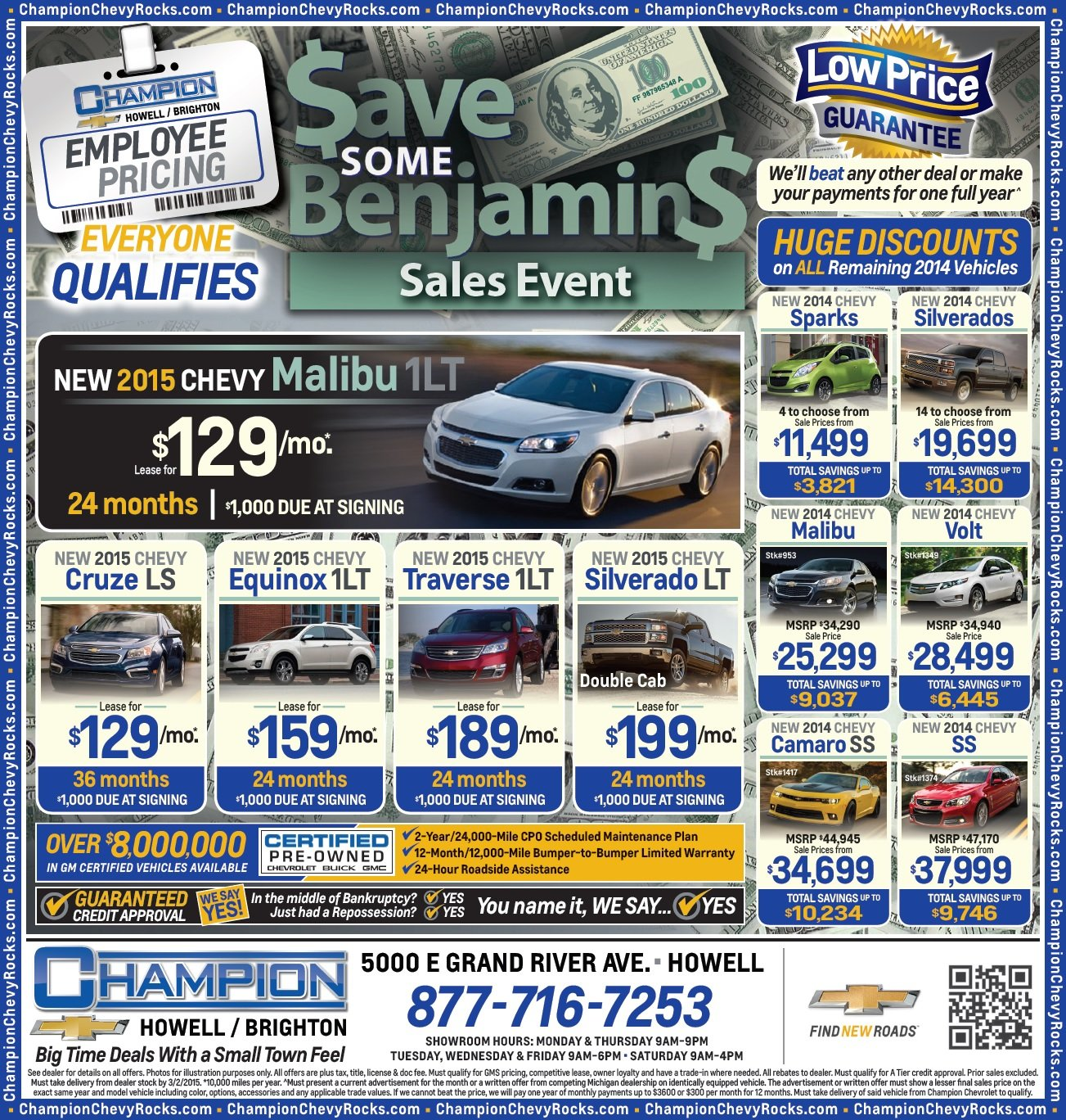 Champion Chevrolet Howell >> Save Some Benjamins Sales Event At Champion Chevrolet Of