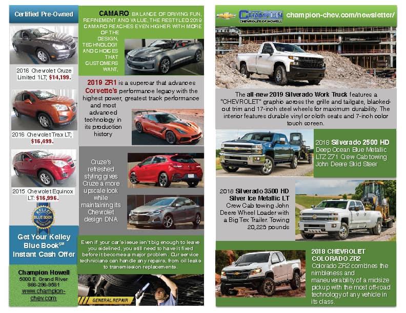 Champion Chevrolet Howell August Newsletter