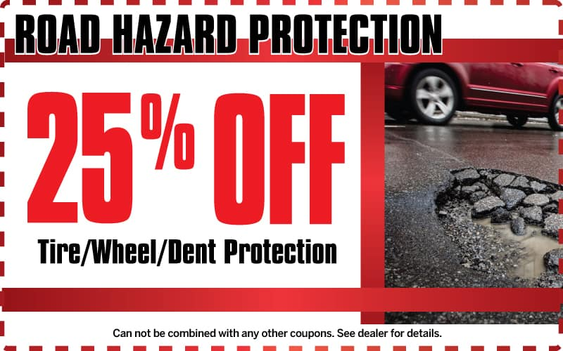 25% off road hazard protect at Champion Chevrolet of Howell