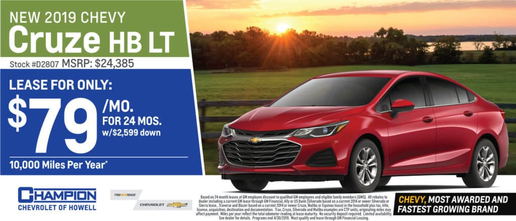 Chevy Cruze Lease >> New Inventory Specials L Champion Chevrolet L Howell