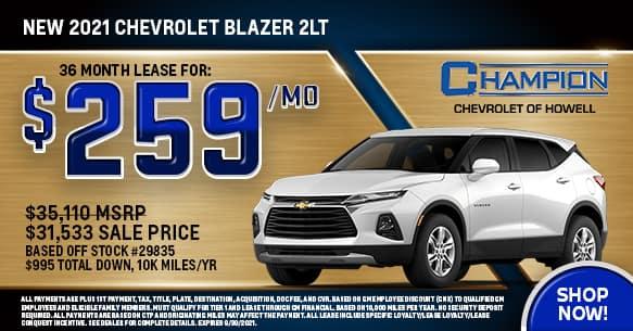 2021 Chevy Blazer 2LT September Lease Offer
