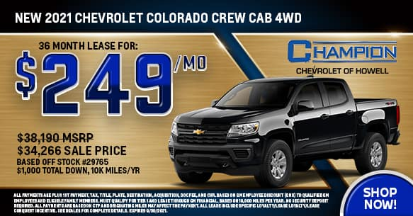 2021 Chevy Colorado Crew Cab 4WD September Lease Offer