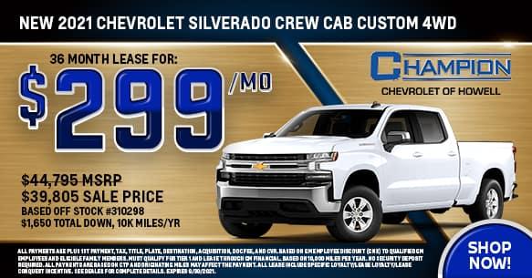 2021 Chevy Silverado Custom Crew Cab 4WD September Lease Offer