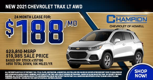 2021 Chevy Trax LS AWD September Lease Offer