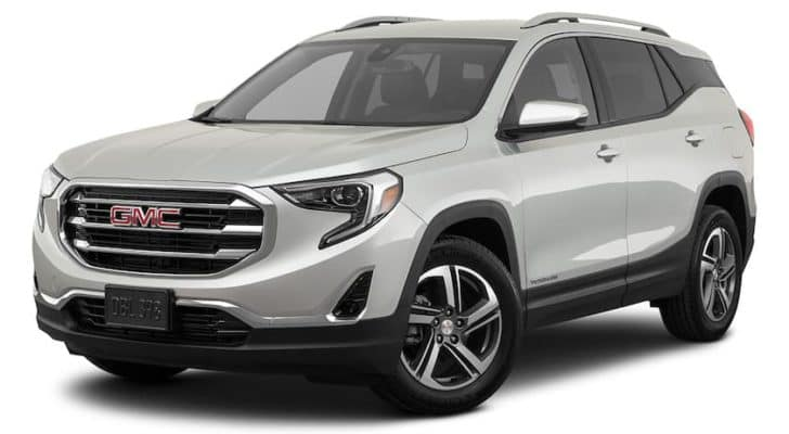 A silver 2021 GMC Terrain is angled left.
