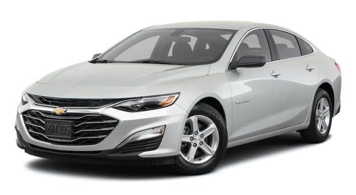 A silver 2021 Chevy Malibu is angled left.