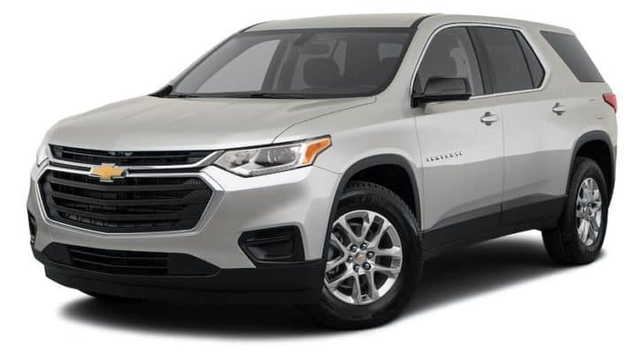 A silver 2021 Chevy Traverse is angled left.