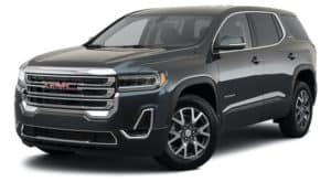 A black 2021 GMC Acadia is angled left.