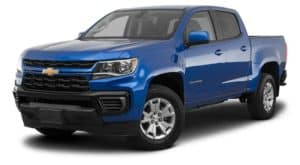 A blue 2021 Chevy Colorado is angled left.