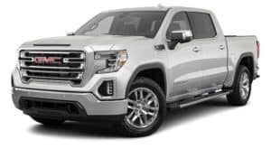 A silver 2021 GMC Sierra 1500 is angled left.