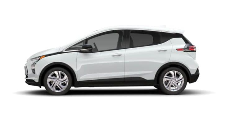 A white 2022 Chevy Bolt EV is facing left.