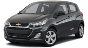 A black 2021 Chevy Spark LS is angled left.